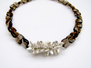 Smoky Quartz pompom necklace
